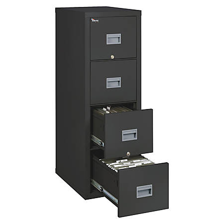 FireKing Patriot Series Vertical File Cabinet, 4 Drawers, Black, White Glove Delivery