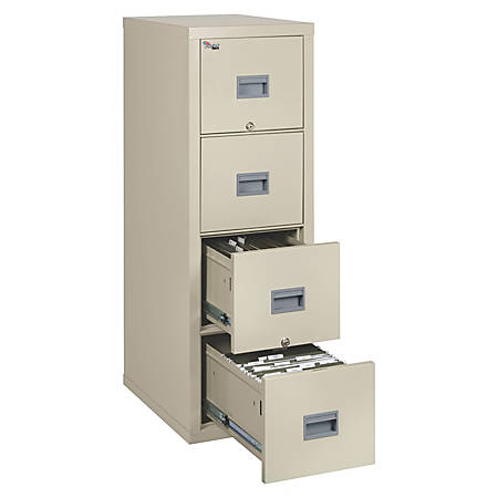 "FireKing® Patriot Series 25""D Vertical File Cabinet, 4 Drawers, Parchment, White Glove Delivery"