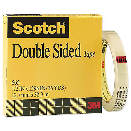 """Scotch® Double-Sided Tape, 1/2""""x 1,296"""", Clear"""