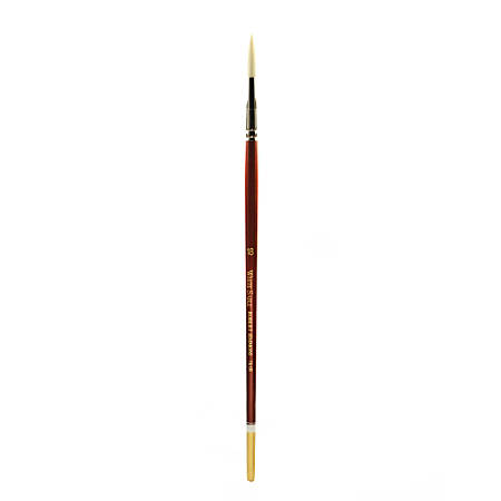Robert Simmons White Sable Long Handle Paint Brush 761R, Size 18, Round Bristle, Sable Hair, Brown