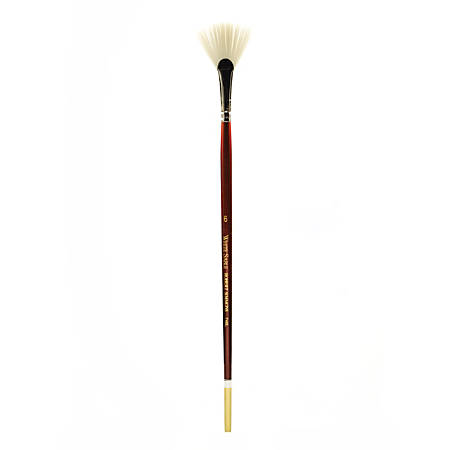 Robert Simmons White Sable Long Handle Paint Brush 748, Size 6, Fan Bristle, Sable Hair, Brown
