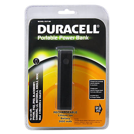 Duracell portable power bank with 2600mah battery black by office duracell portable power bank with 2600mah fandeluxe Choice Image