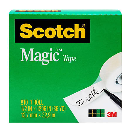 "Scotch® Magic™ 810 Tape, 1/2"" x 1,296"", Clear"