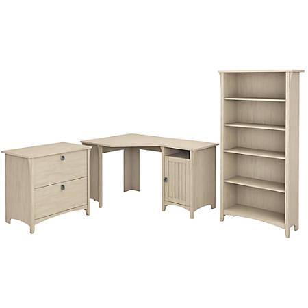 "Bush Furniture Salinas 55""W Corner Desk With Lateral File Cabinet And 5 Shelf Bookcase, Antique White, Standard Delivery"