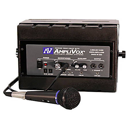 AmpliVox SS1230 Mity Box Amplified Speaker With Wired Mic - 50 W Amplifier - Built-in Amplifier - 1 x Speakers - 2 Audio Line In - 3 Audio Line Out