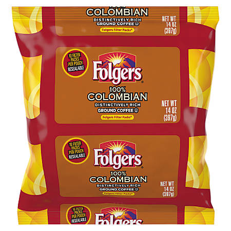Folgers® Colombian Coffee Filter Single-Serve Packets, 1.4 Oz, Carton Of 40