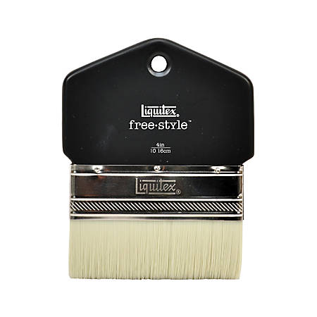 "Liquitex Free-Style Large-Scale Paint Brush, 4"", Flat Bristle, Paddle-Cut, Black"