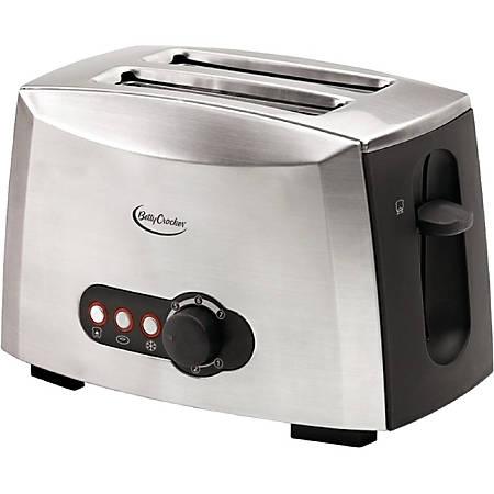Betty Crocker BC-1618C 2-Slice Toaster (Brushed Stainless Steel) - Toast, Bagel, Waffle - Metallic