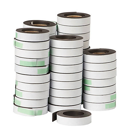 """Dowling Magnets Adhesive Magnet Strips, 1/2"""" x 30"""", Gray/White, Box Of 48"""