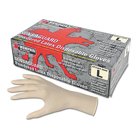 MCR Safety Latex Polymer Disposable Gloves - X-Large Size - Latex - White - Powdered, Disposable, Anti-microbial, Anti-bacterial - For Assembling, Food Handling, Painting, Industrial, Mail Sorting - 1 Box
