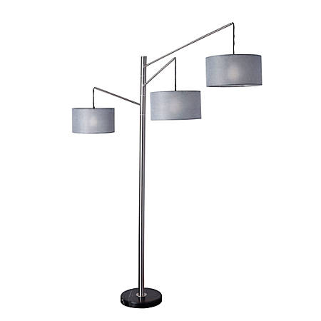 "Adesso® Wellington Arc Lamp, 91""H, Charcoal Gray Shade/Steel Base"