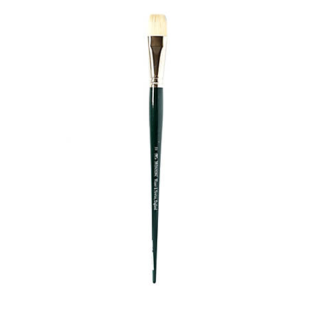 Winsor & Newton Winton Hog Paint Brush, Size 12, Short Flat/Bright Bristle, Hog Hair, Green