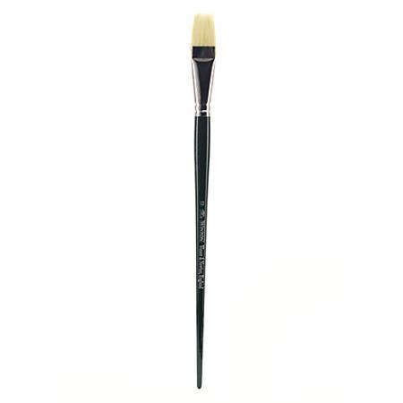Winsor & Newton Winton Hog Paint Brush, Size 12, Long Flat Bristle, Hog Hair, Green