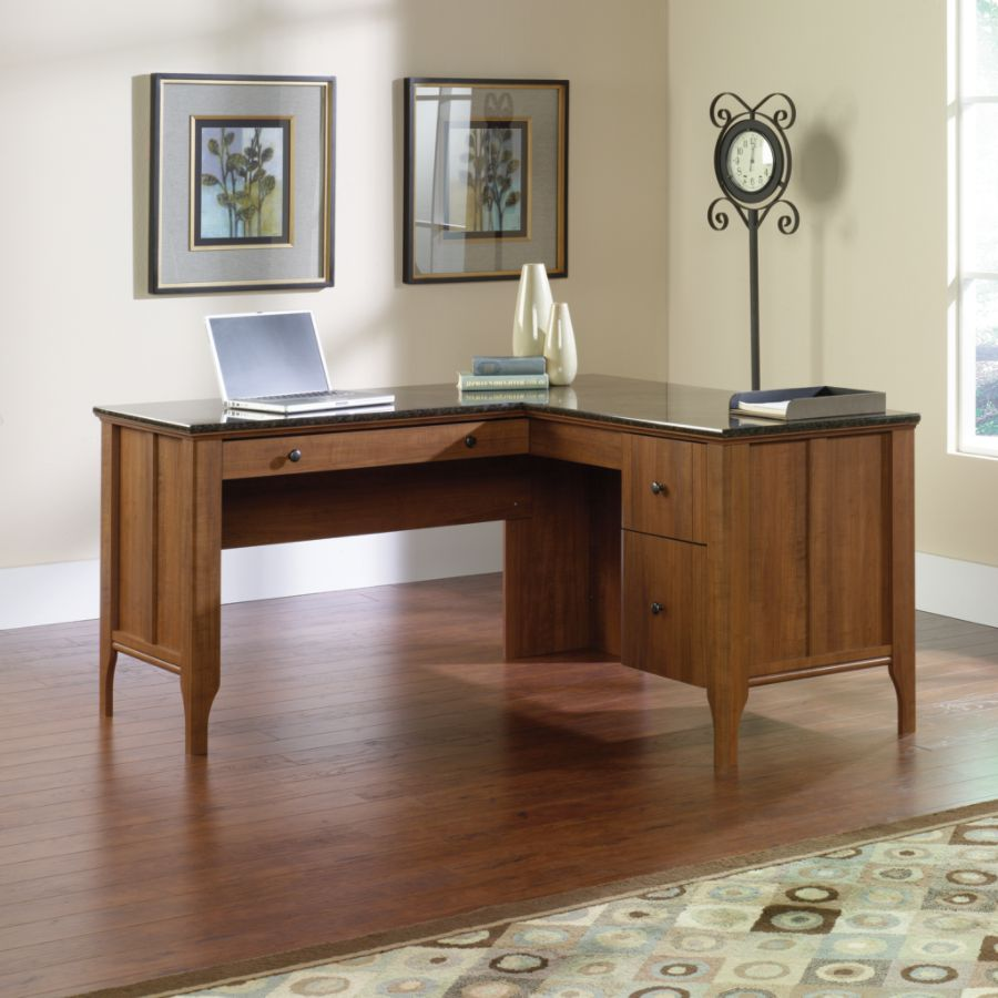 Sauder Appleton Collection Faux Marble Top L Desk Sand Pear by