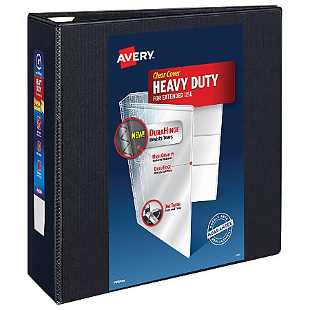 "Avery® Heavy-Duty View Binder, With Locking One-Touch EZD™ Rings, 8 1/2"" x 11"", 4"" Rings, 43% Recycled, Black"