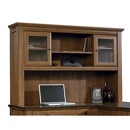 sauder desk beginnings cinnamon ip hutch com cherry walmart with
