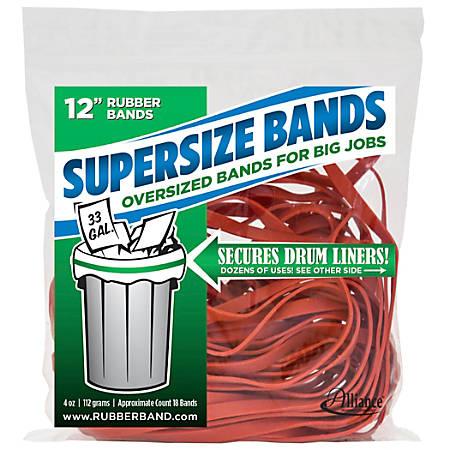 "Alliance® SuperSize Bands™, 12"" x 1/4"", Red, Bag Of 18"