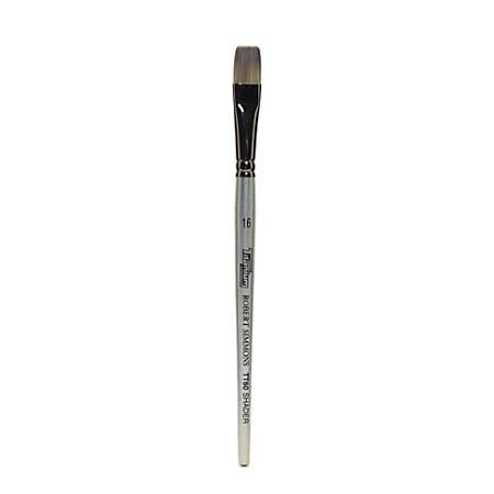 Robert Simmons TT60 Titanium Short-Handle Single-Stock Paint Brush, Size 16, Flat Shader Bristle, Hog Hair, Silver