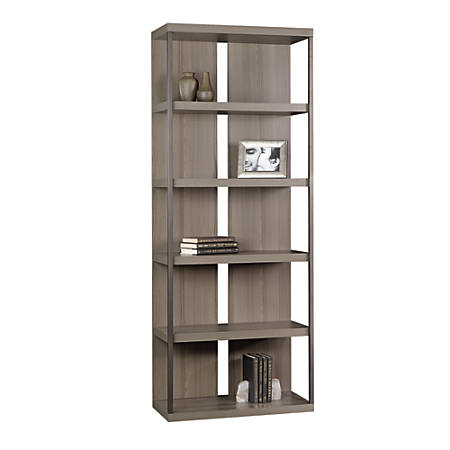 Sauder International Lux 5-Shelf Bookcase, Diamond Ash
