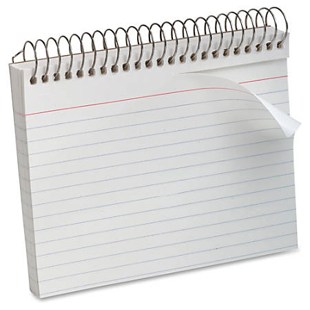 "Oxford® Spiral-Bound Index Cards, Ruled, 5"" x 8"", White, Pack Of 50"
