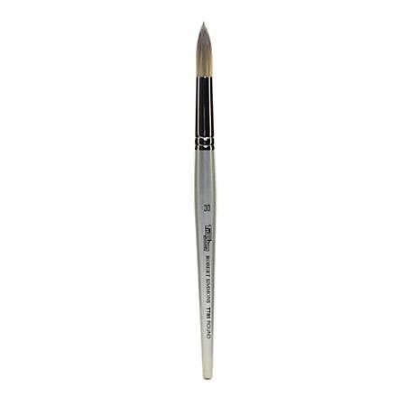 Robert Simmons TT85 Titanium Short-Handle Single-Stock Paint Brush, Size 30, Round Bristle, Hog Hair, Silver