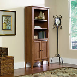 Image result for Sauder Appleton Library Bookcase With Doors, 5-Shelves, Sand Pear