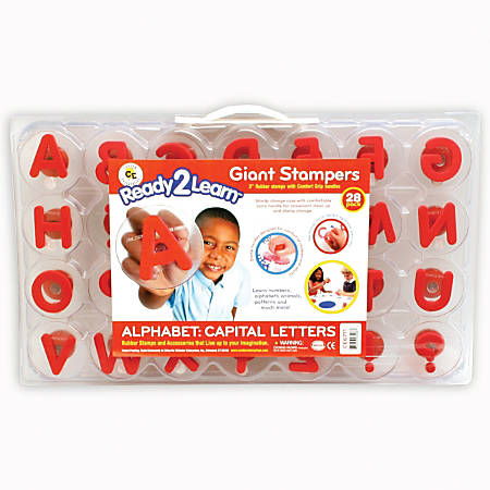 "Center Enterprises Ready2Learn Alphabet Letters Giant Stamps, Uppercase, 3"", Red, Pack Of 28"