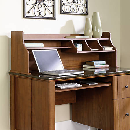 ip computer hills hutch with oak finish orchard carolina desk sauder