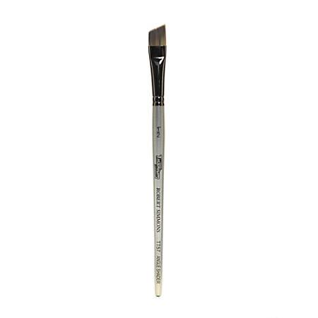 "Robert Simmons TT57 Titanium Short-Handle Single-Stock Paint Brush, 1/2"", Angle Shader Bristle, Silver"
