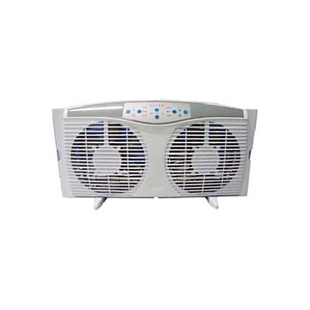 """Optimus 8"""" Electrically Reversible Twin Window Fan with Thermostat & LED - 203.2 mm Diameter - 3 Speed - Rain Resistant, Adjustable Slide Screen, Safety Grill, Thermostat, LED - Plastic Blade - White"""