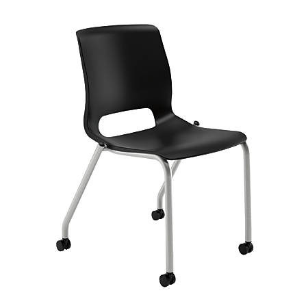 HON® Motivate Stacking Chair With Casters, Onyx, Set Of 2