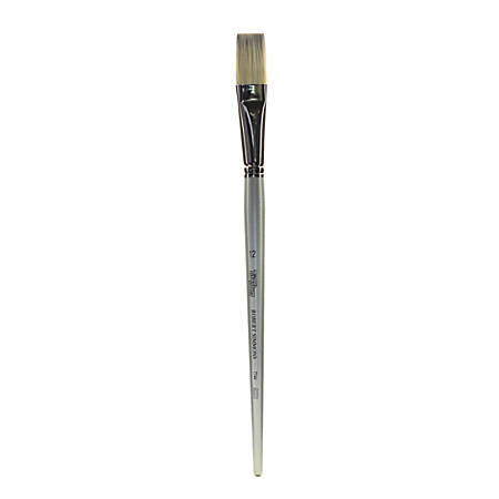 Robert Simmons TT44 Long-Handle Single-Stock Paint Brush, Size 12, Flat Bristle, Hog Hair, Silver