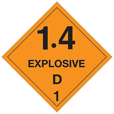 "Tape Logic® Preprinted Shipping Labels, DL5035, Explosive — 1.4D — 1, Square, 4"" x 4"", Orange/Black, Roll Of 500"