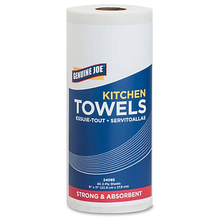 "Genuine Joe 85-sheet Kitchen Towels - 2 Ply - 9"" x 11"" - 85 Sheets/Roll - White - Paper - Perforated, Chlorine-free - For Kitchen - 30 / Carton"