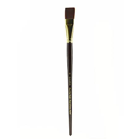 Winsor & Newton Galeria Long-Handle Paint Brush, Size 22, Flat Bristle, Polyester, Burgundy