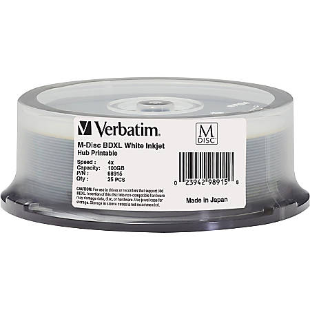 Verbatim Blu-ray Recordable Media - BD-R - 4x - 100 GB - 25 Pack Spindle