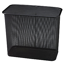"""United Receptacle 30% Recycled Steel Mesh Rectangle Wastebasket, 7.5 Gallons, 16"""" x 14"""" x 8 1/2"""", Black"""