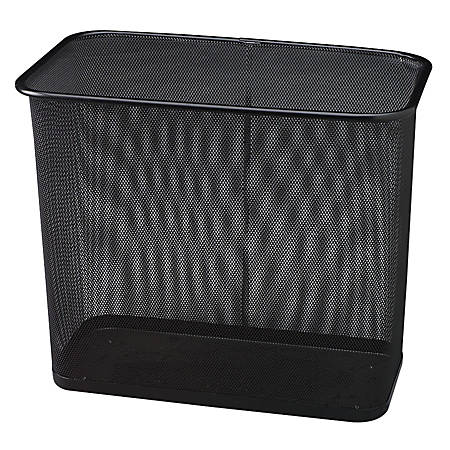 "United Receptacle 30% Recycled Steel Mesh Rectangle Wastebasket, 7.5 Gallons, 16"" x 14"" x 8 1/2"", Black"