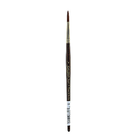 Winsor & Newton Galeria Short-Handle Paint Brush, Size 6, Round Bristle, Polyester, Burgundy