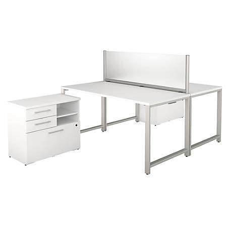 "Bush Business Furniture 400 Series 2-Person Workstation With Table Desks And Storage, 60""W x 30""D, White, Standard Delivery"