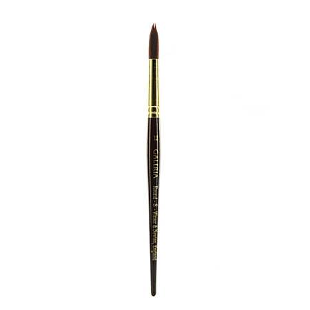 Winsor & Newton Galeria Short-Handle Paint Brush, Size 12, Round Bristle, Polyester, Burgundy