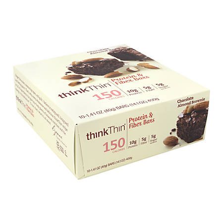 thinkTHIN Chocolate Almond Brownie Protein Bars, 1.41 Oz, Box Of 10 Bars