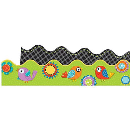 Carson-Dellosa 2-Sided Scalloped Borders, Boho Birds And Blooms, Multicolor, Grades Pre-K - 8, Pack Of 13