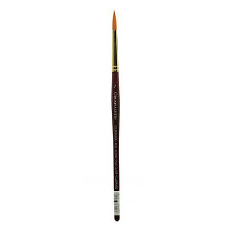 Grumbacher Goldenedge Watercolor Paint Brush, Size 7, Round Bristle, Sable Hair, Dark Red