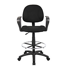 Boss Drafting Stool With Arms BlackChrome
