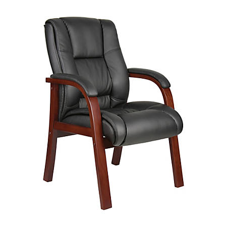 Boss Aaria Mid-Back Guest Chair, Black/Mahogany