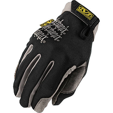 Mechanix Wear 2-way Stretch Utility Gloves - 10 Size Number - Large Size - Lycra, Spandex, Leather Palm, Leather Thumb, Leather Index Finger - Black - Air Vent, Stretchable, Reinforced Palm Pad, Snag Resistant, Hook & Loop - 1 / Pair