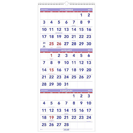 at a glance 3 months per page 14 month wall calendar 12 14 x 27