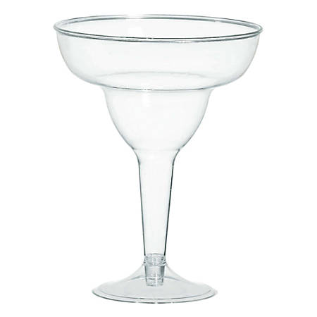 Amscan Plastic Margarita Glasses, 11 Oz, Clear, 20 Glasses Per Pack, Case Of 2 Packs