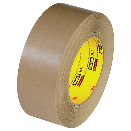 "3M™ 2517 Flatback Tape, 3"" Core, 1.5"" x 60 Yd., Kraft, Case Of 24"